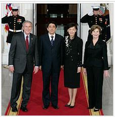 安倍夫妇与布什夫妇,2007年4月