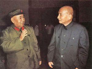1981年7月1日,许世友(左)同陈云交谈。