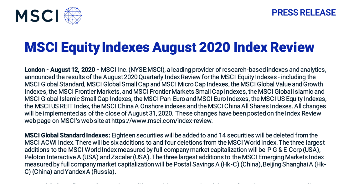 MSCI 宣布纳入三家A股公司,8月31日收盘生效!QFII 减仓医药生物,透露什么信号?