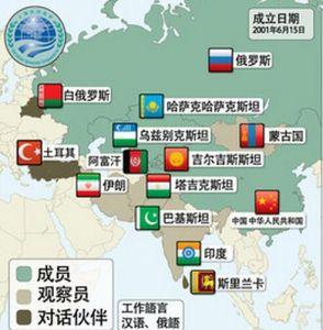 上海合作组织成员分布图