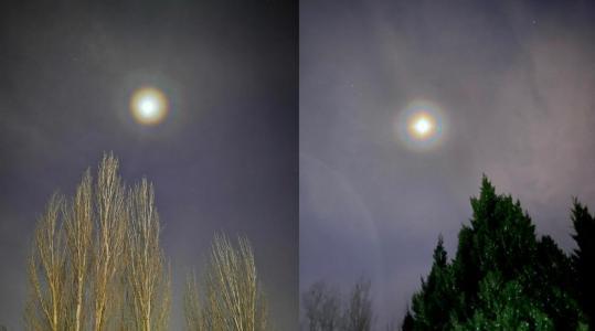 北京天空现月华美景,月亮仿若被彩虹包围明艳动人
