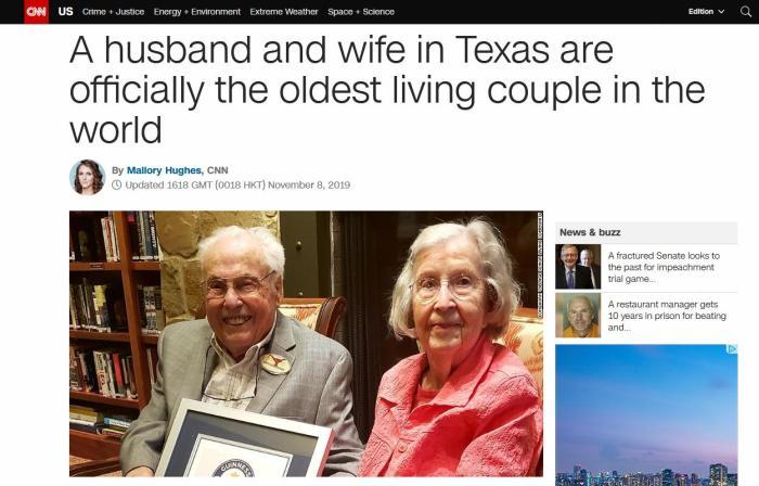全球最老夫妇年龄合计211岁 将迎结婚80周年纪念日