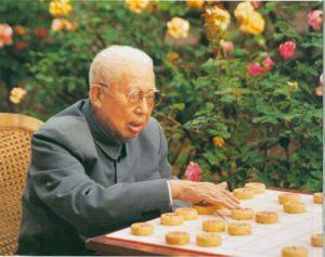 1992年5月王平在北京庭院内下棋
