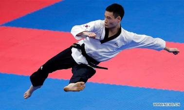 S Korea's Kang Minsung wins Taekwondo Men Individual Poomsae Final at Asian Games