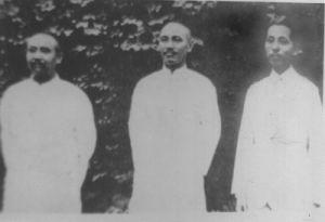蒋介石、张学良与阎锡山合影