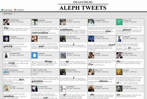 alephtweets.com的网站页面,这些加粗放大的单词按顺序拼凑起来就是小说全文。