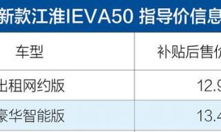 新款江淮IEVA50上市 补贴后售价12.95-13.45万/续航里程增加