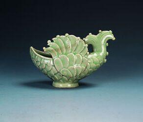 耀州窑青瓷飞鱼形水盂