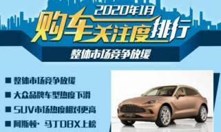 整体市场竞争放缓 1月购车热度排行