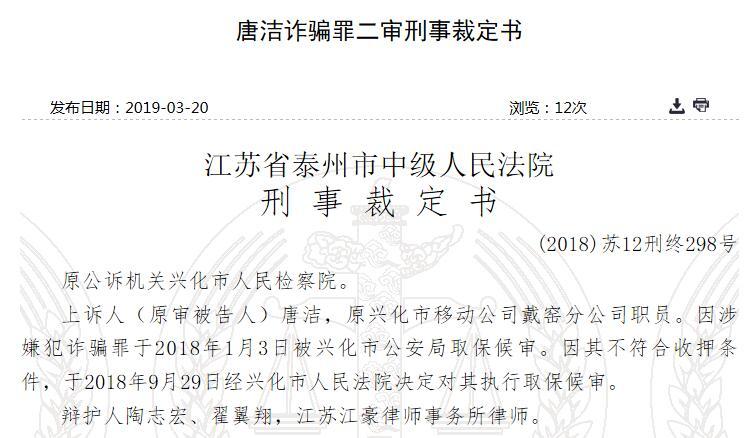 中国移动职员唐洁隐瞒真相引诱诈骗3843.98万元被判刑10年 受害人损失88万